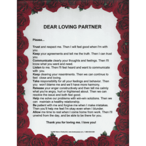 Dear Loving Partner laminated poster